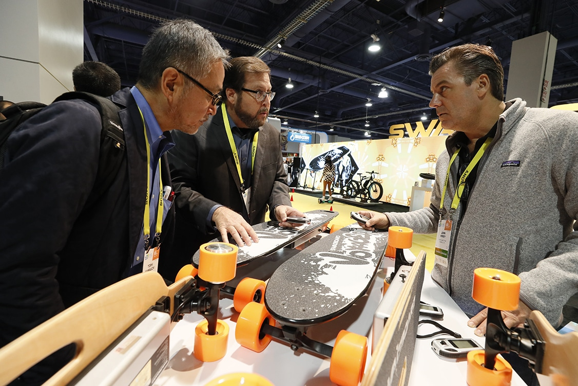 Exhibitors Attendees interact at CES 2017